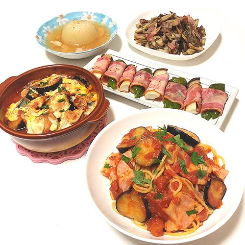 ベーコントマトパスタ・ベーコンとナスのチーズ焼き・ベーコン巻き・ベーコンとまるごと玉ねぎのスープ・ベーコンと舞茸とごぼうの炒め物
